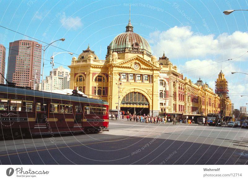 Melbourne Bahnhof Stadt Ferien & Urlaub & Reisen Haus Straße Stimmung Platz Station Bauwerk Stadtzentrum Australien Straßenbahn Sehenswürdigkeit