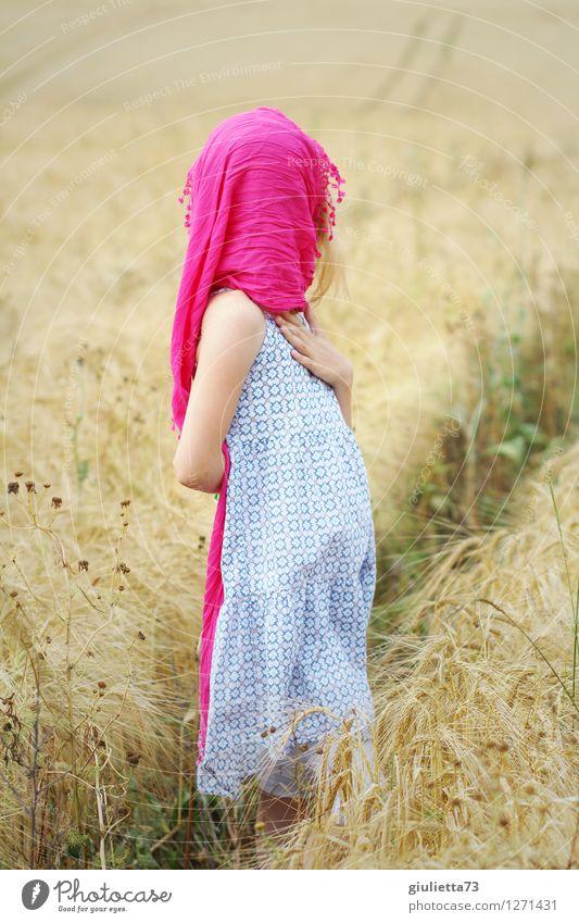 Secret Freude Freizeit & Hobby Mensch feminin Kind Mädchen Kindheit 1 8-13 Jahre Sommer Schönes Wetter Nutzpflanze Getreide Getreidefeld Feld beobachten träumen