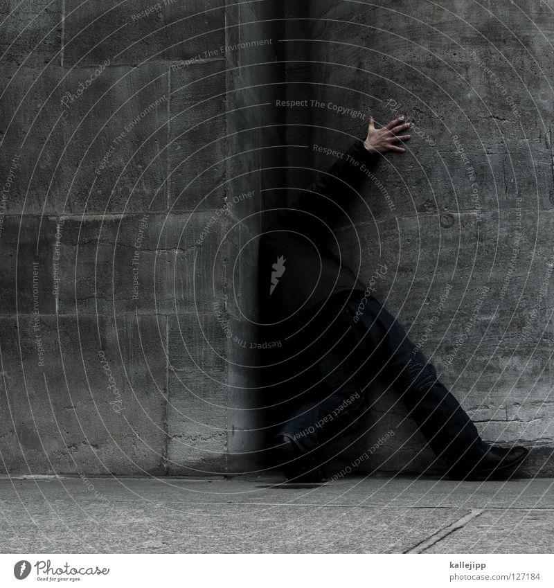 lückenbüßer Hund Mensch Mann Hand Wand Architektur Mauer Arbeit & Erwerbstätigkeit gehen Angst Schilder & Markierungen stehen leer Ecke Suche Bildung
