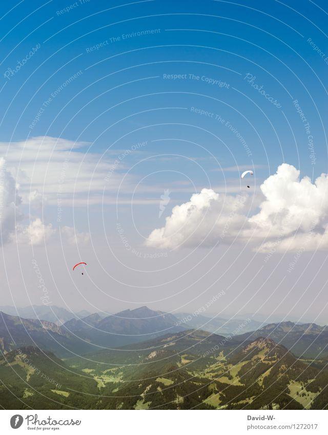 ^ Fallschirmspringer ^ Mensch Ferien & Urlaub & Reisen Sommer ruhig Wolken Ferne Erwachsene Berge u. Gebirge Leben feminin Freiheit fliegen Paar Felsen maskulin