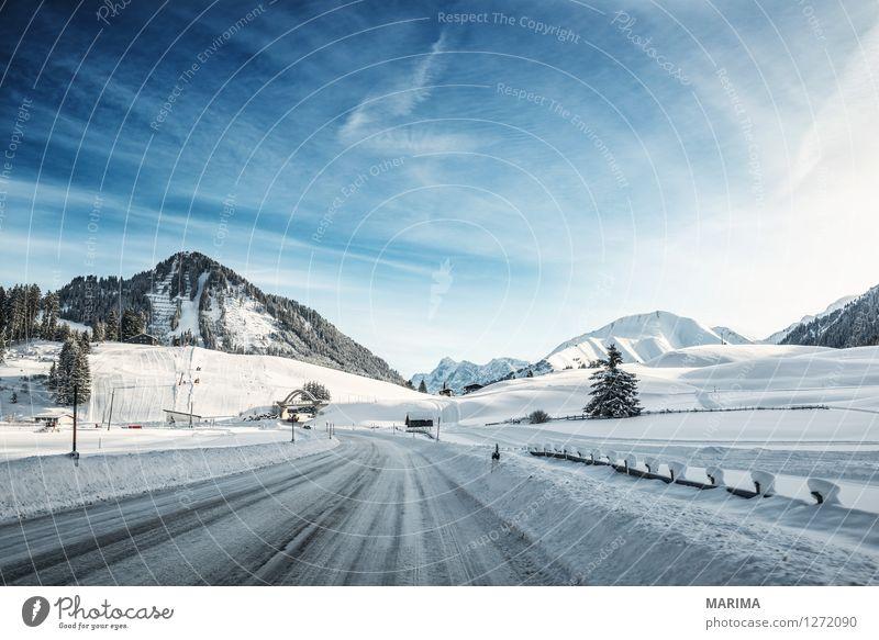 Winter landscape in the Alps Natur blau weiß Landschaft kalt Berge u. Gebirge Straße Deutschland Verkehr Europa Alpen gefroren Verkehrswege Kurve Autofahren