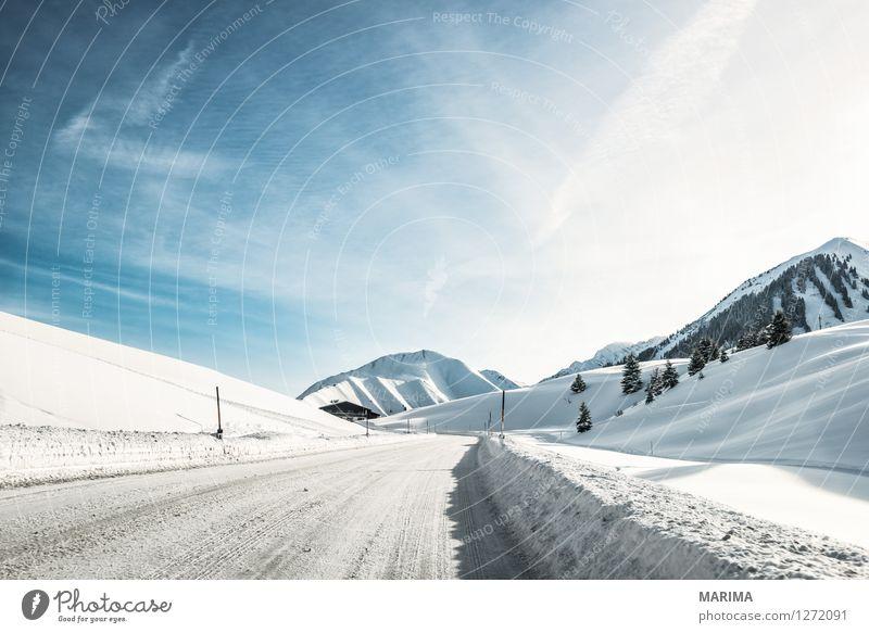 Winter landscape in the Alps Natur blau weiß Landschaft kalt Berge u. Gebirge Straße Deutschland Verkehr Europa Alpen Asphalt gefroren Verkehrswege Österreich