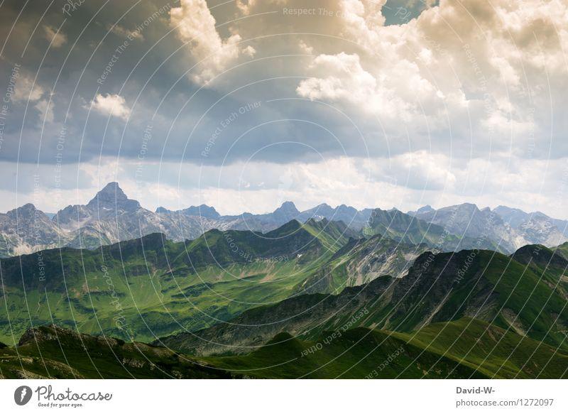 Der Berg ruft Himmel Natur Ferien & Urlaub & Reisen schön Sommer Sonne Landschaft Wolken Ferne Berge u. Gebirge Umwelt Freiheit Tourismus wandern Aussicht