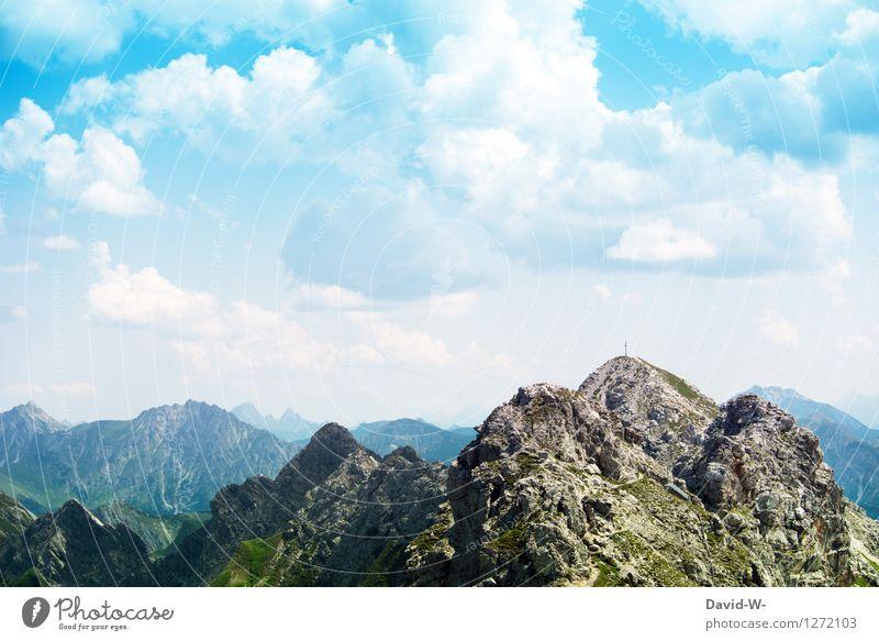 das Gipfelkreuz ist ganz nah Mensch Himmel Ferien & Urlaub & Reisen Sommer Landschaft Wolken Ferne Berge u. Gebirge Umwelt Freiheit Felsen Freizeit & Hobby