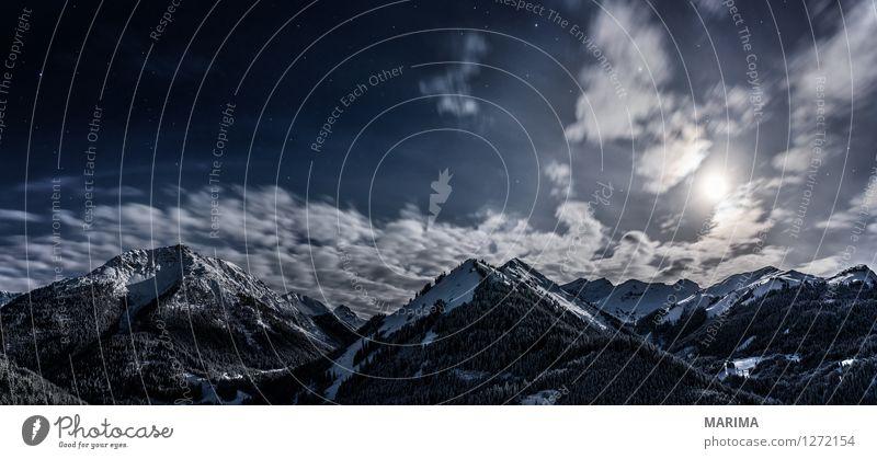 Winter landscape in the Alps Ferien & Urlaub & Reisen Tourismus Schnee Winterurlaub Berge u. Gebirge Natur Landschaft Wolken Alpen dunkel kalt weiß mountains