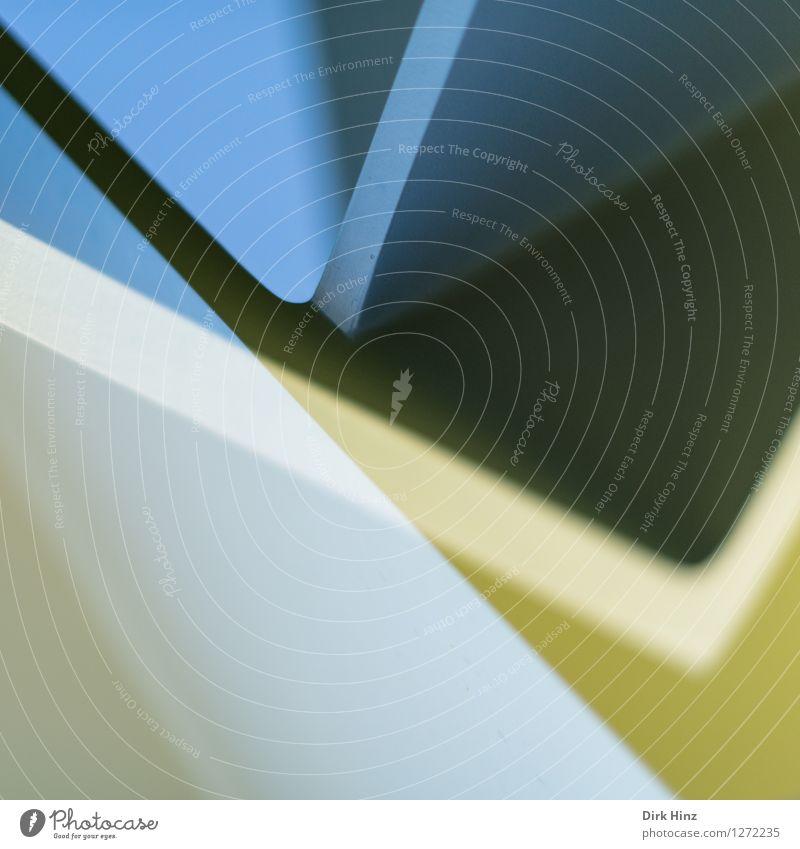 winklig Lifestyle Stil Design Kunst Ausstellung Kunstwerk Kultur ästhetisch eckig modern blau gelb Ordnung Strukturen & Formen Doppelbelichtung häufig Schatten