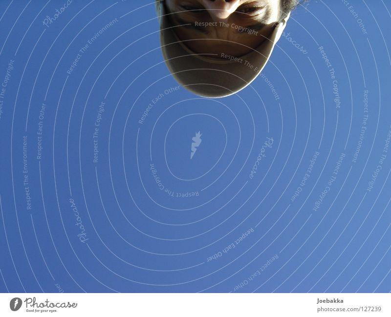 Vertikalverkehrt Himmel blau Sommer Gesicht Haare & Frisuren Nase Mütze Hälfte Gute Laune