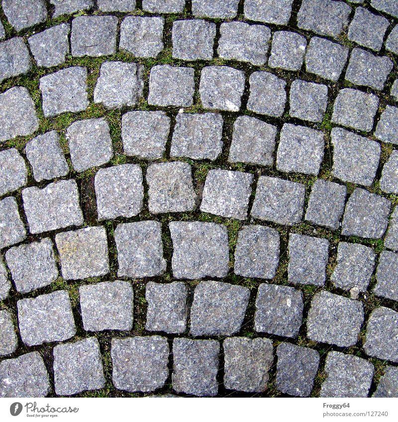Pflaster Straßenbelag grau Quadrat Granit Verkehrswege Stein Kopfsteinpflaster Hintergrundbild Detailaufnahme Bildausschnitt