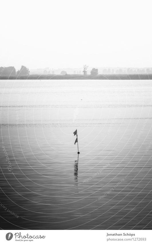 Ohje Boje Umwelt Natur Landschaft Luft Wasser Himmel Wolkenloser Himmel Küste Seeufer Flussufer trist Traurigkeit Sehnsucht grau Fahne Im Wasser treiben