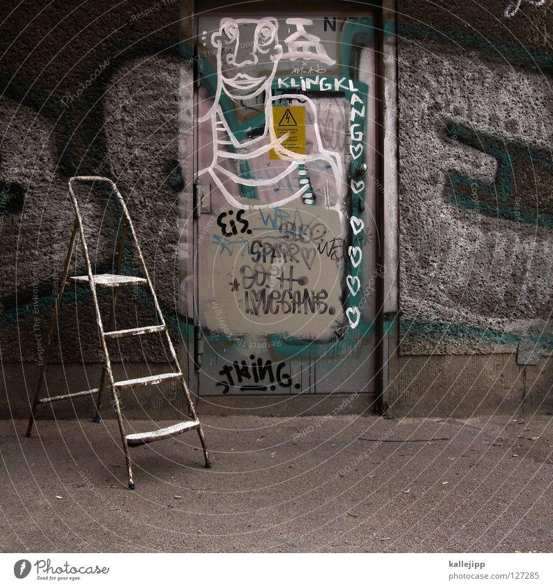 es gibt eis baby Stadt Trittbrett Straßenkunst Kunst Mauer Wand Fundstück Bühne Schnellzug Comic Typographie Dadaismus sinnlos Dinge Schmiererei Lifestyle Leben