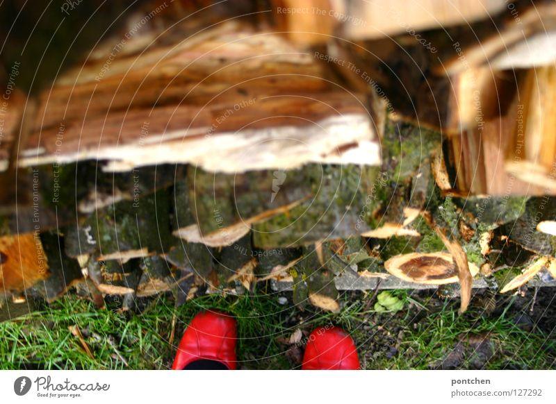Holz vor der Hütte Mensch Frau rot Winter kalt Erwachsene Wärme Herbst Holz Garten Fuß oben Schuhe Bekleidung Physik unten