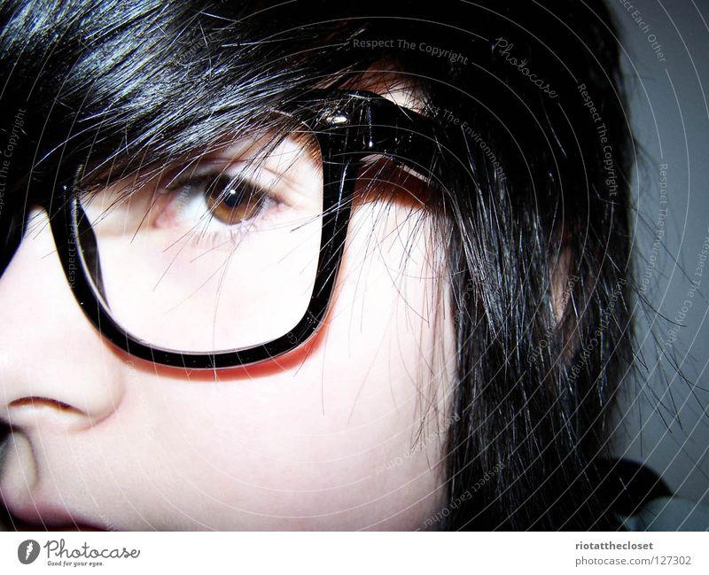 i'm a nerd. Jugendliche blau Gesicht schwarz Brille Freak