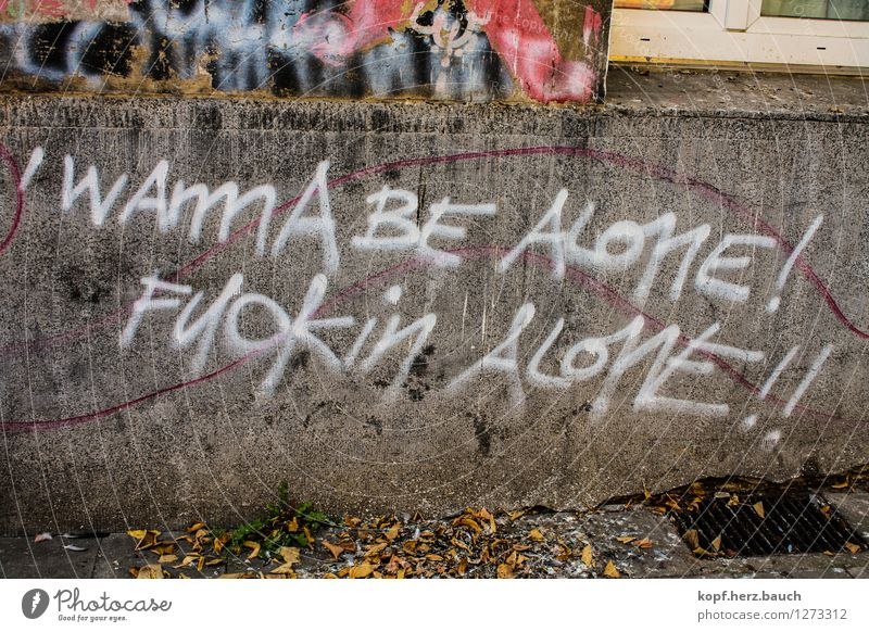 FUCKIN ALONE!! Graffiti Mauer Wand Schriftzeichen Denken Kommunizieren schreiben Traurigkeit Stadt Wut Trauer Stress Ärger Frustration Verbitterung trotzig Hass