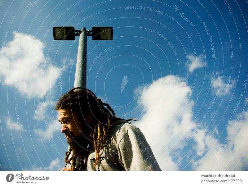 350 Himmel Mann blau schön Freude Wolken Erholung Graffiti Lampe hell Linie 2 Wetter hoch Verkehrswege Stahl