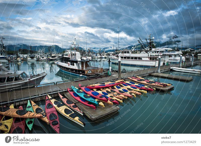 Kajak-Mikado Fjord Schifffahrt Passagierschiff Segelboot Jachthafen Beginn entdecken ruhig Tourismus Valdez Alaska Feierabend Außenaufnahme Textfreiraum oben