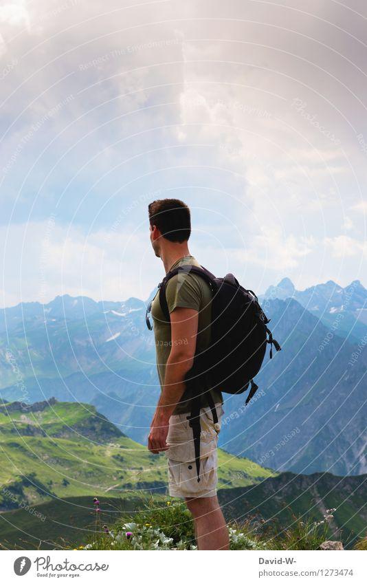 Blick in die Ferne Mensch Ferien & Urlaub & Reisen Jugendliche Mann schön Sommer Erholung Junger Mann Landschaft ruhig Wolken Erwachsene Berge u. Gebirge Leben
