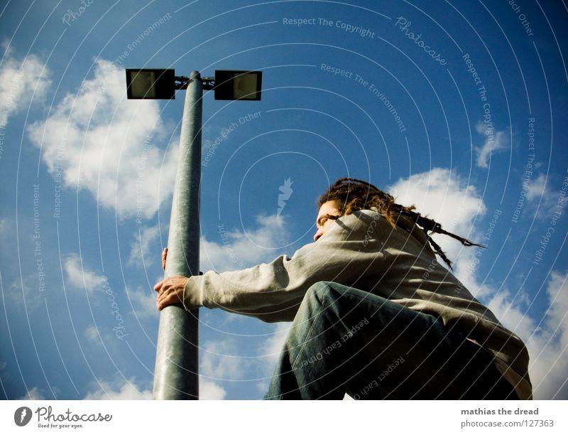 STRETCHING Himmel Mann blau schön Sonne Wolken Erholung Graffiti Beine Lampe Linie 2 hell Wetter Kraft hoch