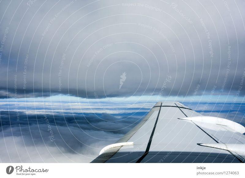 Zwischenwelten Lifestyle Ferien & Urlaub & Reisen Tourismus Ferne Luft Himmel Wolken Gewitterwolken Horizont Klima Klimawandel Wetter Luftverkehr Flugzeug