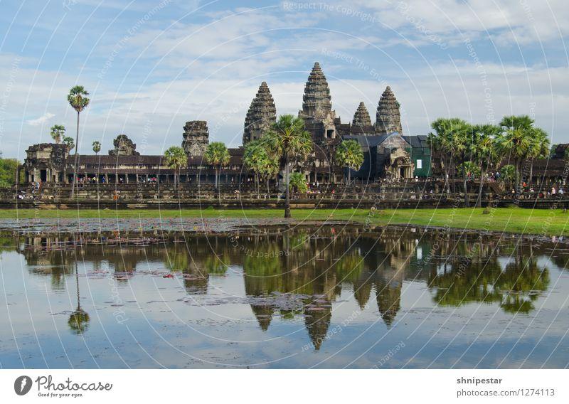 Angkor Wat Stadt alt Umwelt Wand Architektur Gebäude Mauer außergewöhnlich Fassade Schriftzeichen einzigartig Kultur Abenteuer Bauwerk Asien Glaube