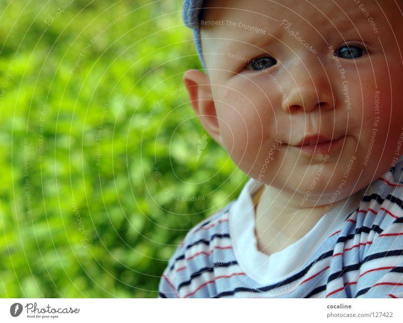was geht? Baby Kind Speichel skeptisch Kleinkind Mütze gestreift Augenbraue herausfordernd Gnom süß Porträt Gesichtsausdruck Blick Junge Sabber frech Ohr Kobold