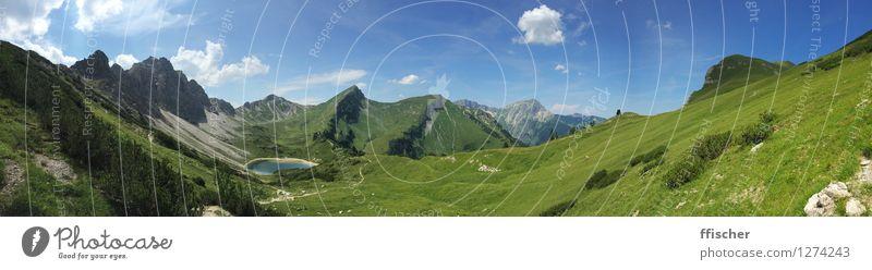 Was für Berge Natur blau schön grün Sommer Wasser Sonne Erholung Landschaft Ferne Berge u. Gebirge natürlich See Zufriedenheit wandern authentisch