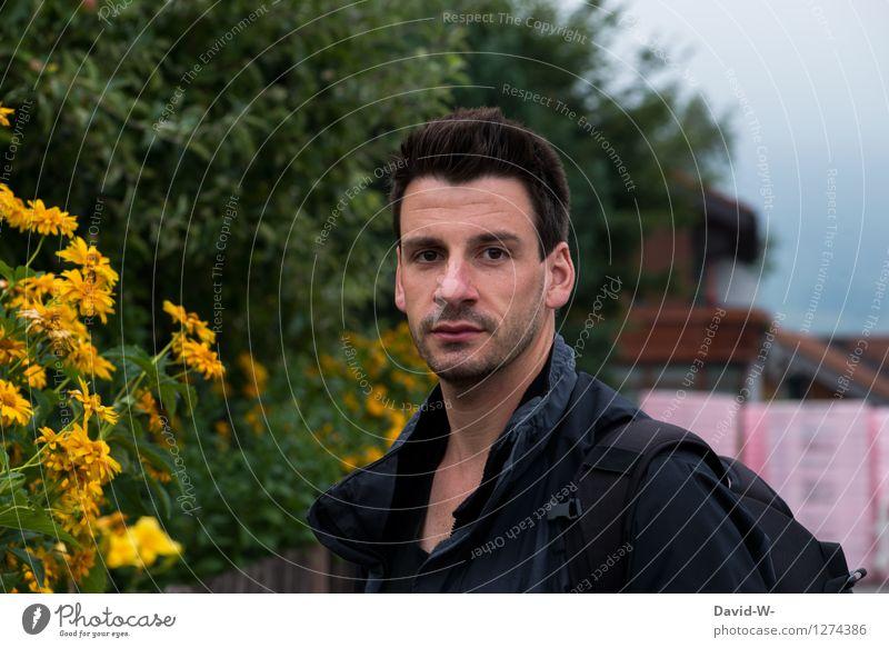 Male Mensch Natur Jugendliche Mann schön Blume Junger Mann ruhig dunkel Erwachsene gelb Leben Frühling Herbst Lifestyle Gesundheit