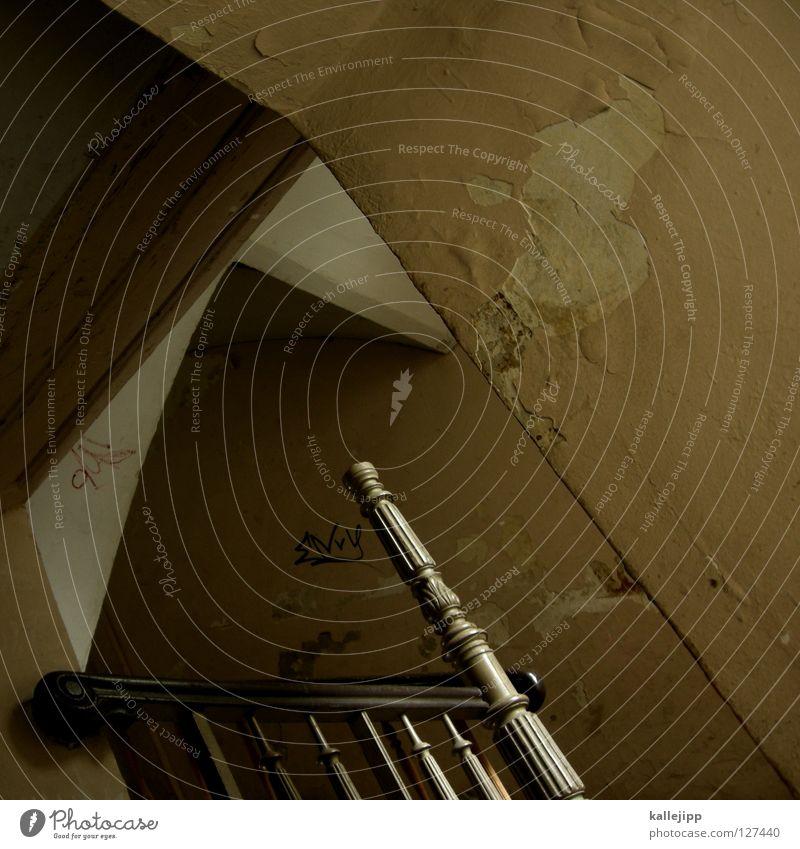 eckig alt Einsamkeit Haus Wand Tür Wohnung Treppe Häusliches Leben Dekoration & Verzierung Geländer Tor Verfall Treppenhaus Eingang Paradies Putz