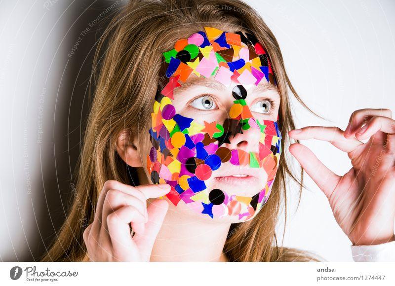 Gepunktet XVI Mensch feminin Junge Frau Jugendliche 1 18-30 Jahre Erwachsene Pullover Haare & Frisuren brünett langhaarig braun mehrfarbig grau weiß Mut