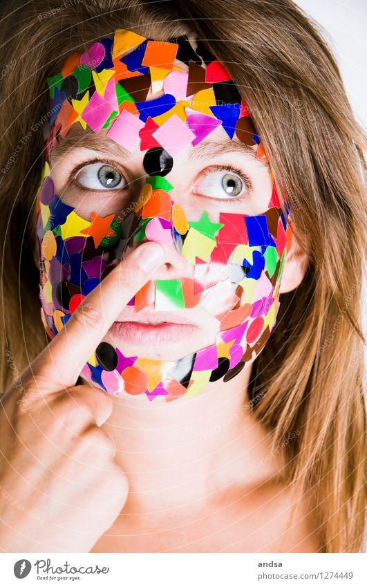 Gepunktet XIV Mensch feminin Junge Frau Jugendliche 1 18-30 Jahre Erwachsene Haare & Frisuren brünett langhaarig beobachten Blick Spielen Konflikt & Streit