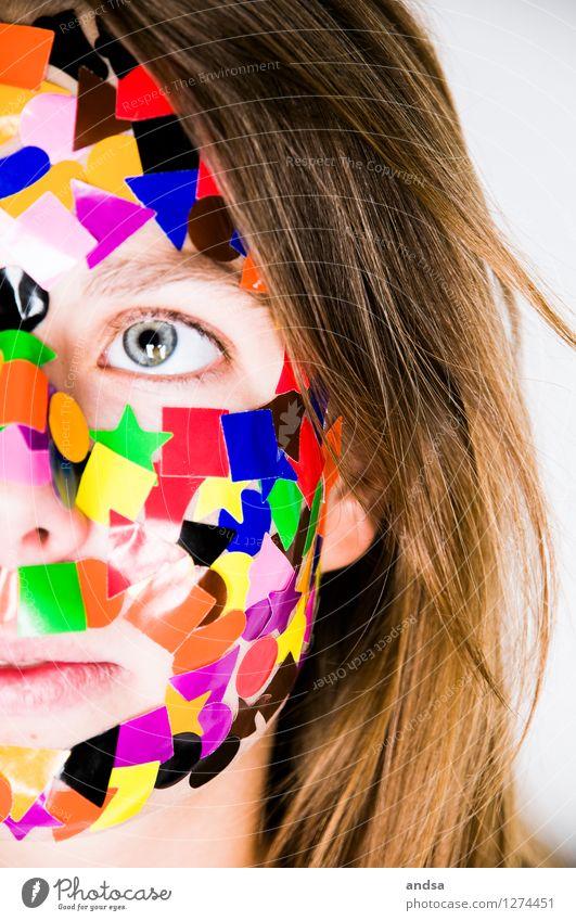 Gepunktet XIII Mensch feminin Junge Frau Jugendliche 1 18-30 Jahre Erwachsene Haare & Frisuren brünett langhaarig beobachten Blick träumen braun mehrfarbig grau