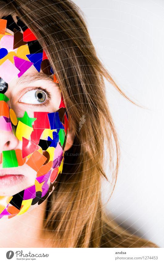 Gepunktet XX Mensch feminin Junge Frau Jugendliche Erwachsene 1 18-30 Jahre Haare & Frisuren brünett langhaarig Blick Neugier braun mehrfarbig grau Wachsamkeit