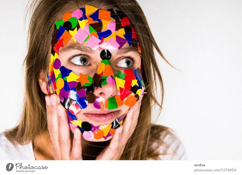 Gepunktet XIX Mensch Frau Jugendliche Farbe Junge Frau weiß 18-30 Jahre Erwachsene feminin Haare & Frisuren außergewöhnlich braun träumen verrückt Kreativität