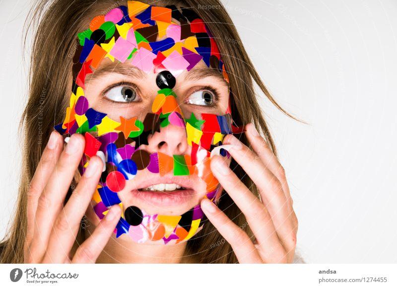 Gepunktet XVIII Mensch Frau Jugendliche Farbe Junge Frau 18-30 Jahre Erwachsene feminin Haare & Frisuren braun träumen Angst verrückt beobachten einzigartig berühren