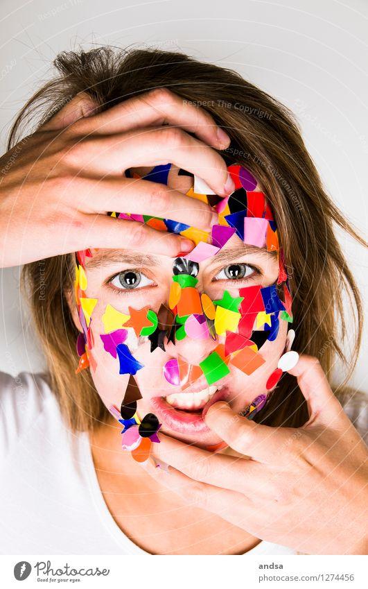 Gepunktet XVII Mensch feminin Junge Frau Jugendliche 1 18-30 Jahre Erwachsene T-Shirt Haare & Frisuren brünett langhaarig Aggression frech hässlich stachelig