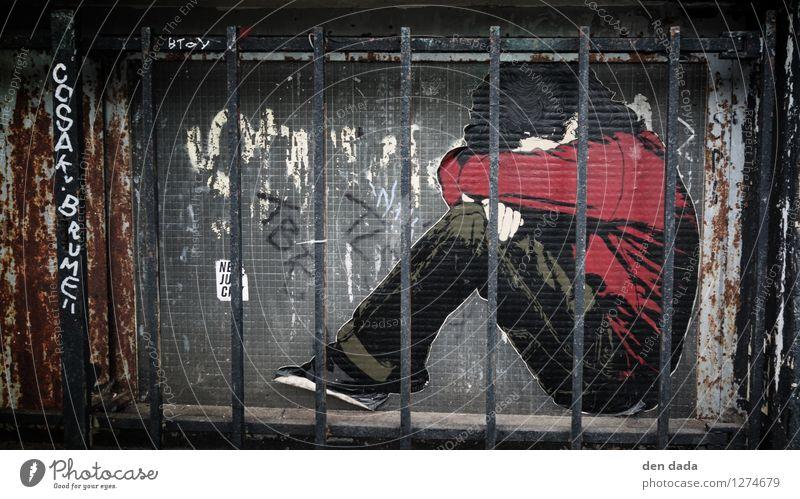 schwedische Gardinen Mensch Kind Jugendliche rot dunkel Fenster Wand Traurigkeit Architektur Graffiti Mauer klein grau Kunst maskulin 13-18 Jahre