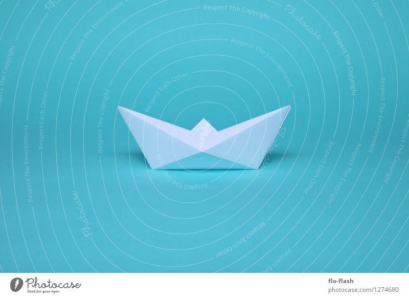 SCHÖNE FALTEN II // ORIGAMI blau Sommer weiß Stil Schwimmen & Baden Kunst Wasserfahrzeug Design Papier Fernweh trendy türkis Sommerurlaub Künstler Zettel