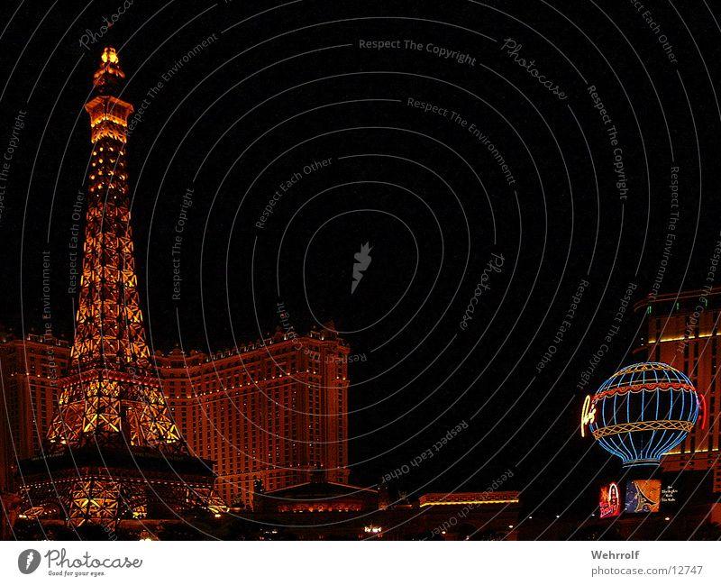 Eifeltower Nightshot Beleuchtung Architektur Hotel Paris Frankreich Las Vegas