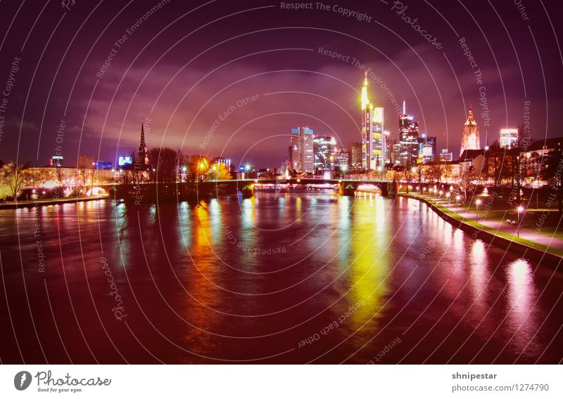 Frankfurt am Main Stadt Wasser Architektur Gebäude Deutschland Business Arbeit & Erwerbstätigkeit modern Technik & Technologie Zukunft Europa Geld violett