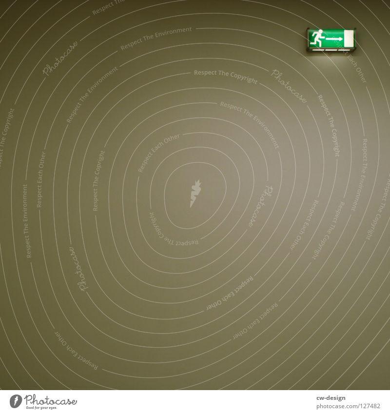 RUN AWAY II Fluchtweg Hinweisschild Notausgang Strichmännchen Piktogramm Richtung richtungweisend Leuchtkörper rechts Ausweg Vor hellem Hintergrund
