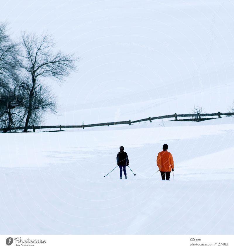 freizeitbetätigung Mensch Kind weiß Baum Ferien & Urlaub & Reisen Winter kalt Schnee Sport Berge u. Gebirge orange Freizeit & Hobby Skifahren fahren Spuren Zaun