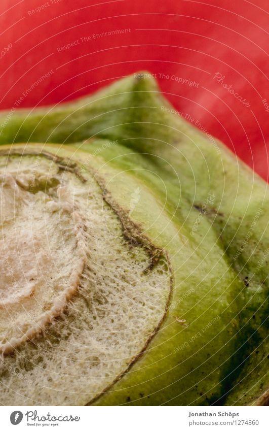 Die Paprika I Lebensmittel Gemüse Ernährung Essen Bioprodukte Vegetarische Ernährung Slowfood Fingerfood ästhetisch rot grün nah Nahaufnahme Makroaufnahme