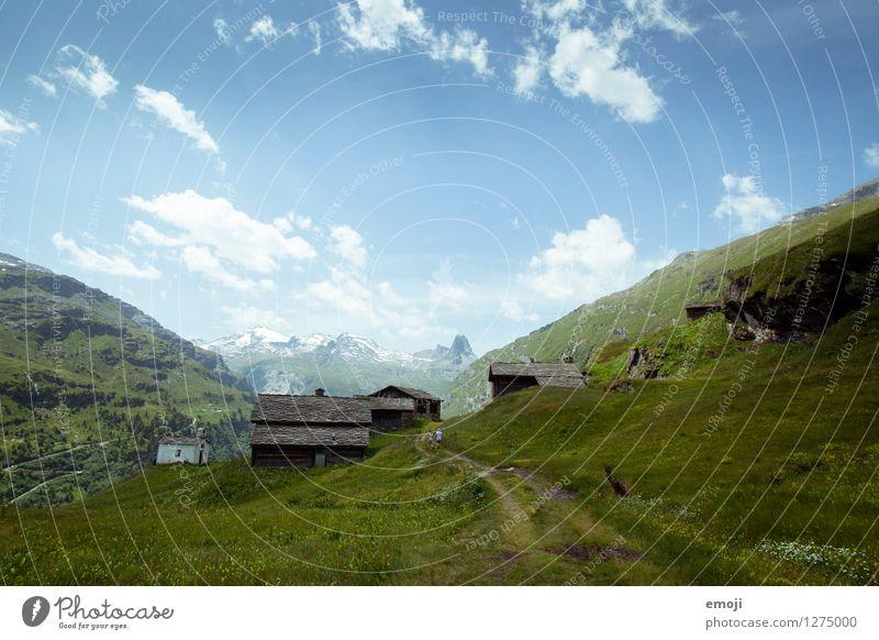 Postkarte Umwelt Natur Landschaft Himmel Sommer Schönes Wetter Hügel Alpen Berge u. Gebirge natürlich blau grün Tourismus Wandertag Schweiz Vals Farbfoto