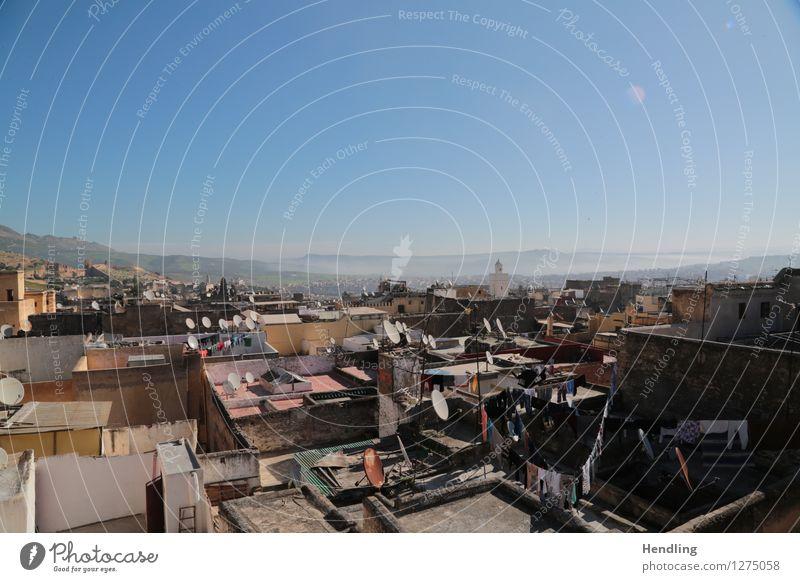 Über den Dächern von Fés Fes Marokko Afrika Leben Dach Dachterrasse Stadt Landschaft Nebel mehrfarbig Farbe Farbenmeer Moschee durcheinander Ferne Blick Sonne