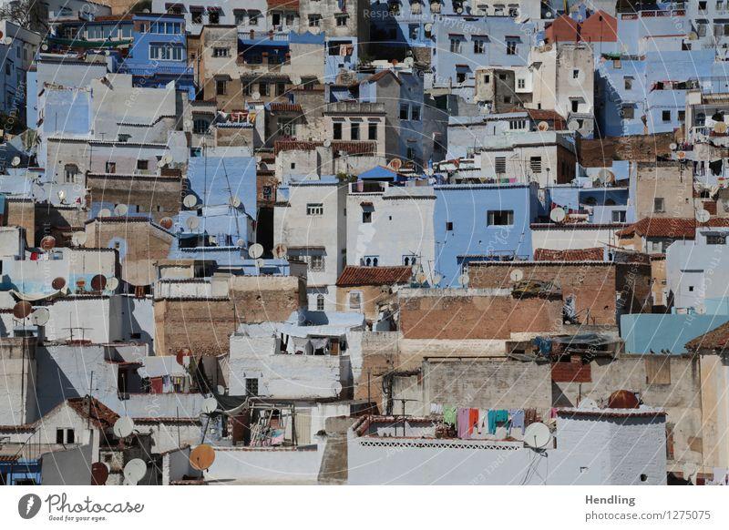Chefchaouen Stein Ornament Leben Chechaouen Afrika Marokko Stadt Dorf Berge u. Gebirge Berghang Fassade Architektur wild sortieren wimmeln blau Farbe ruhig
