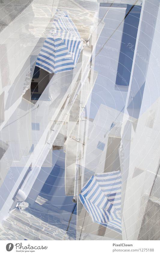 Griechenland Ferien & Urlaub & Reisen Stadt blau Sommer weiß Sonne Landschaft Haus Wand Architektur Stil Gebäude Mauer Lifestyle Stein Stimmung