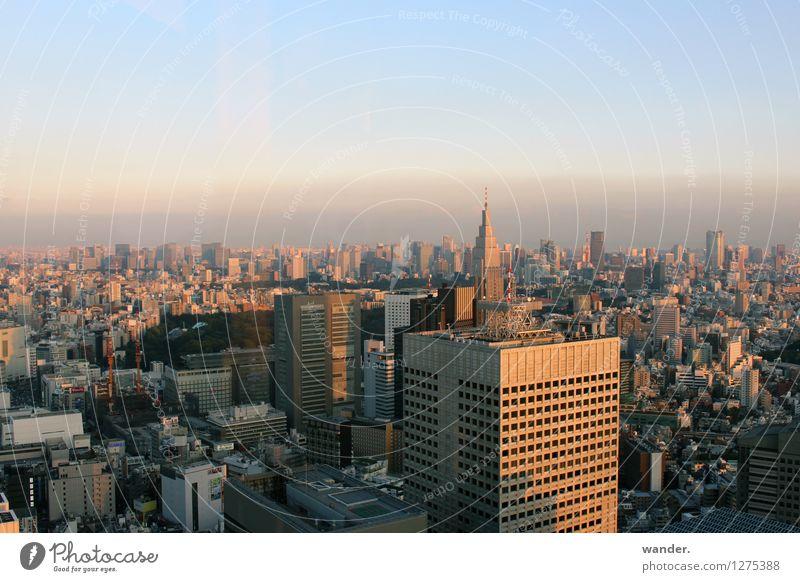 Skyline der Großstadt Tokyo – Abendstimmung Japan Himmel Stadt Haus Ferne Architektur Gebäude Horizont Wachstum Hochhaus Perspektive hoch groß Beton