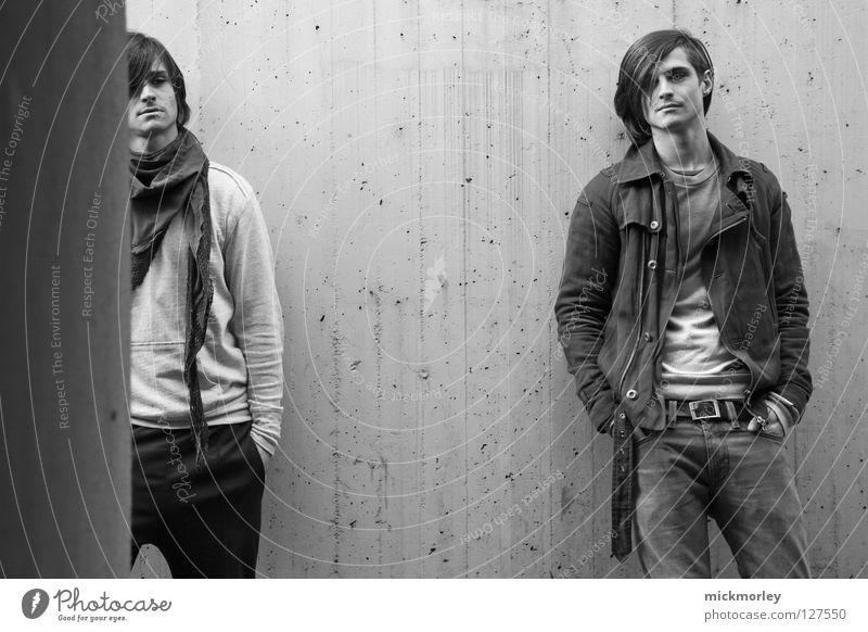twins Mann Hand weiß schwarz Wand grau Haare & Frisuren Coolness Model Hose Jacke Diskjockey lässig Tuch ernst