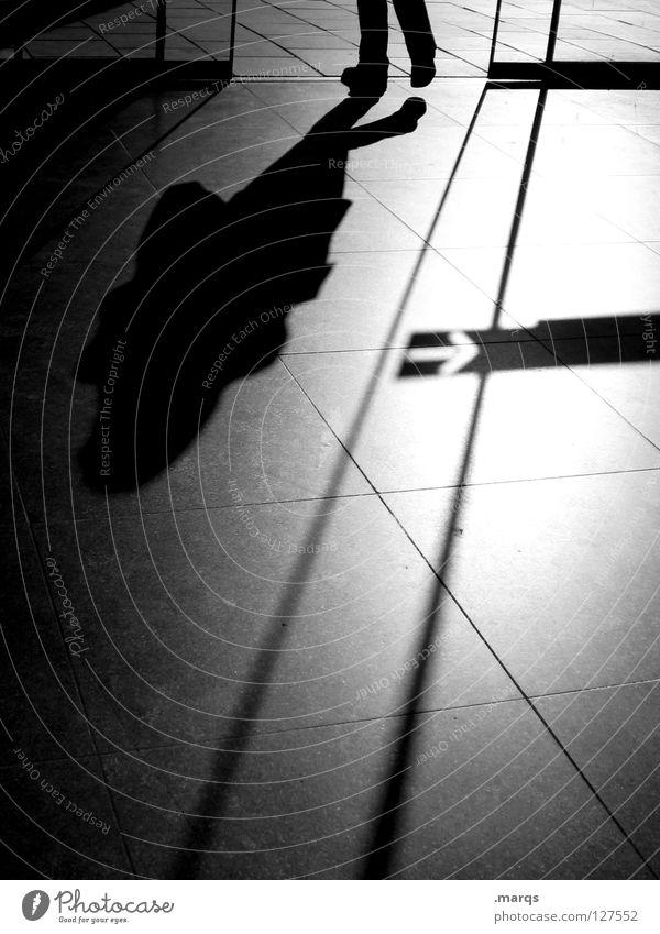 Abgang Licht Schatten Richtung rechts Schiebetür Fluchtpunkt Fluchtlinie gehen Silhouette aufsteigen unterwegs Eile Stress Stadt Karriere