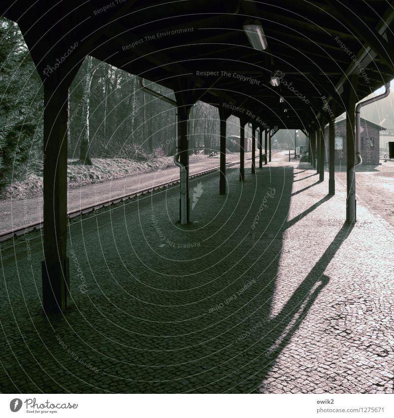 Zug verpasst Bahnhof Bauwerk dunkel Bahnsteig Kopfsteinpflaster Farbfoto Gedeckte Farben Außenaufnahme Detailaufnahme Menschenleer Textfreiraum links