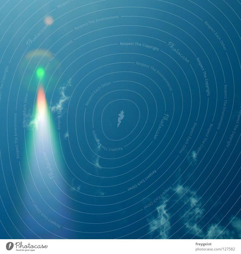 Error Himmel grün blau rot Wolken Beginn Luftverkehr Fleck UFO Fehler Fluggerät